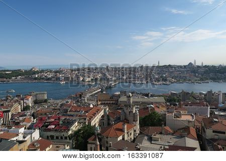 Galata Bridge, the Golden Horn, Bosphorus and Sultanahmet, the Oldtown of Istanbul, as seen from Galata Tower.