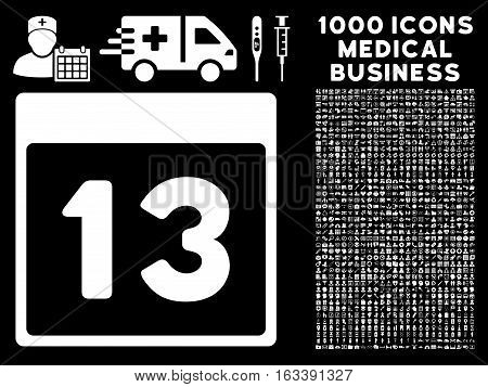 White Thirteenth Calendar Page vector icon with 1000 medical business pictograms. Set style is flat symbols, white color, black background.