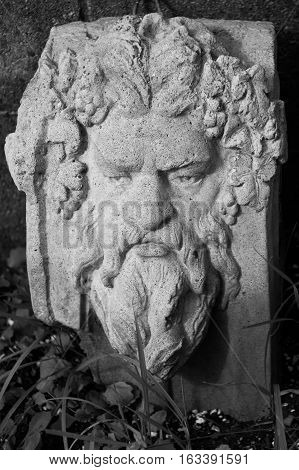 A cement stone green mans face in the leaves spirit of the woods. b/w