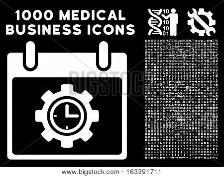 White Time Gear Calendar Day vector icon with 1000 medical business pictograms. Set style is flat symbols, white color, black background.