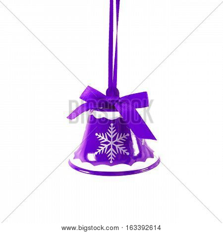 Purple Christmas Jingle Bell Isolated On White Background New Year