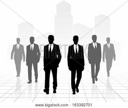 Vector illustration of a six businessmen going forward