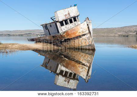 Shipwreck near Point Reyes National Seashore. Inverness, Point Reyes National Seashore, Marin County, California, USA