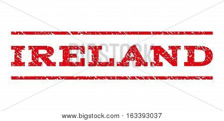 Ireland watermark stamp. Text tag between horizontal parallel lines with grunge design style. Rubber seal stamp with unclean texture. Vector intensive red color ink imprint on a white background.