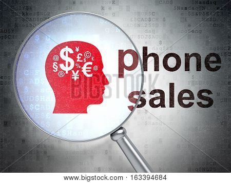 Marketing concept: magnifying optical glass with Head With Finance Symbol icon and Phone Sales word on digital background, 3D rendering
