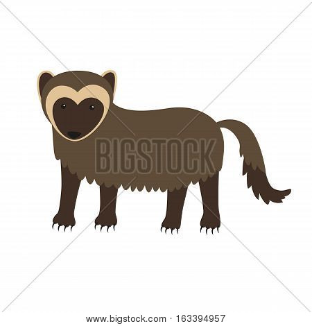 Wolverine animal cartoon character isolated on white background. Vector illustration for children