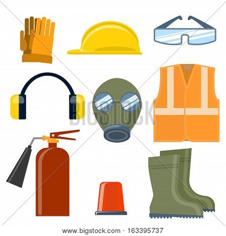 Set of helmet, goggles, mask, boots, vest, headphones, fire extinguisher