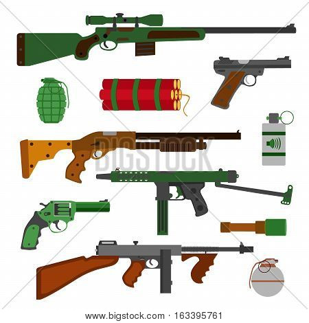 Weapons vector guns collection. Pistols revolver submachine gun assault rifle sniper rifle grenades and dynamite vector icons. Vector gun illustration isolated on white background.