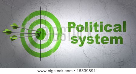 Success politics concept: arrows hitting the center of target, Green Political System on wall background, 3D rendering