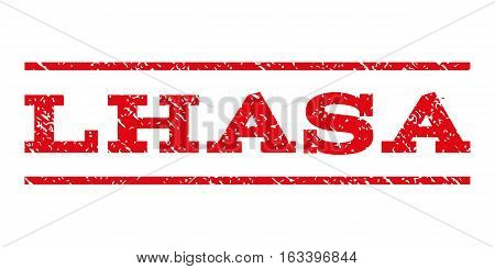 Lhasa watermark stamp. Text tag between horizontal parallel lines with grunge design style. Rubber seal stamp with dust texture. Vector intensive red color ink imprint on a white background.