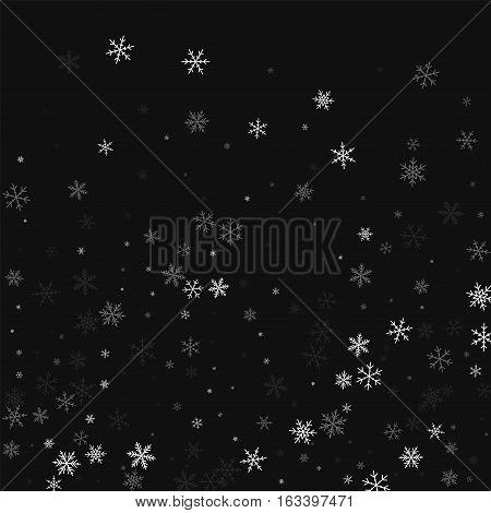 Sparse Snowfall. Bottom Gradient On Black Background. Vector Illustration.