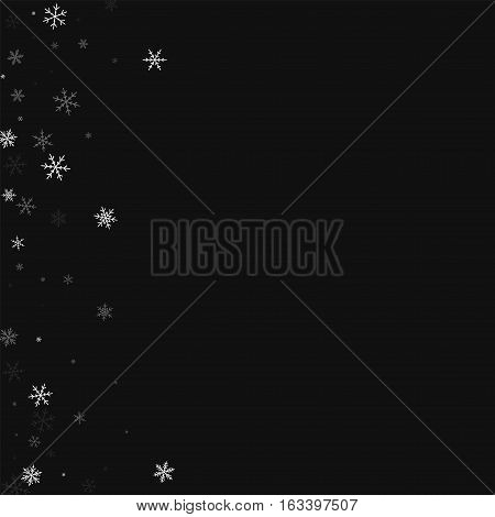 Sparse Snowfall. Abstract Left Border On Black Background. Vector Illustration.