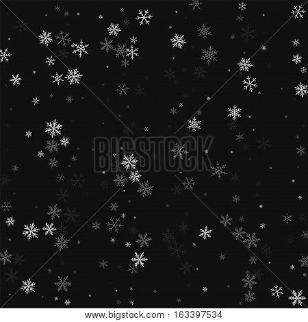 Sparse Snowfall. Scatter Vertical Lines On Black Background. Vector Illustration.