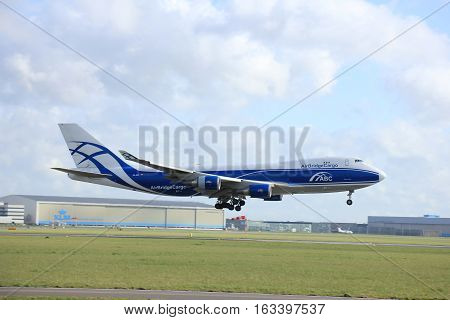Amsterdam The Netherlands april 11 2015: VQ-BIA AirBridgeCargo Boeing 747-4KZF approaching runway 09-27 Buitenveldert