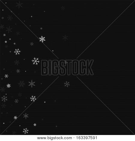 Sparse Snowfall. Scatter Left Gradient On Black Background. Vector Illustration.