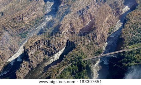 View from the air to the gorges of the Zambezi after the Victoria Falls, border bridge between Zambia and Zimbabwe