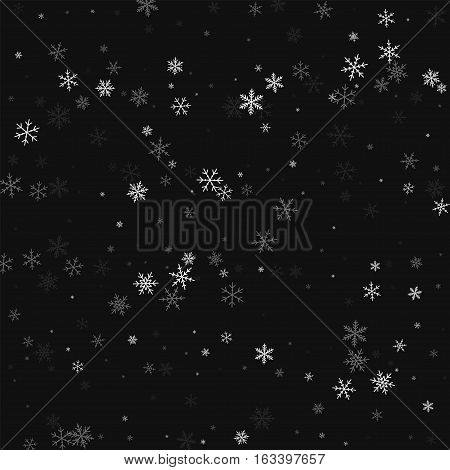 Sparse Snowfall. Chaotic Scatter Lines On Black Background. Vector Illustration.