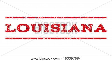 Louisiana watermark stamp. Text caption between horizontal parallel lines with grunge design style. Rubber seal stamp with dirty texture. Vector intensive red color ink imprint on a white background.