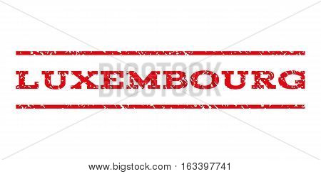 Luxembourg watermark stamp. Text caption between horizontal parallel lines with grunge design style. Rubber seal stamp with dust texture. Vector intensive red color ink imprint on a white background.