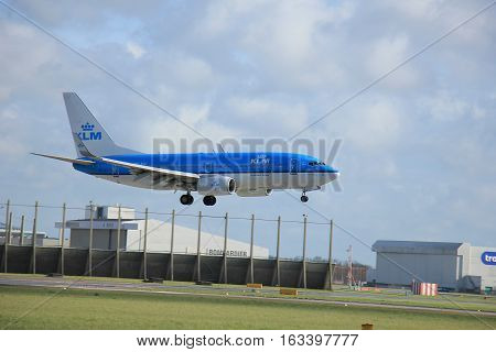 Amsterdam The Netherlands april 11 2015: PH-BGI KLM Royal Dutch Airlines Boeing 737-700 approaching runway 09-27 Buitenveldert