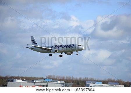 Amsterdam The Netherlands april 11 2015: OH-LZB Finnair Airbus A321-211 approaching runway 09-27 Buitenveldert