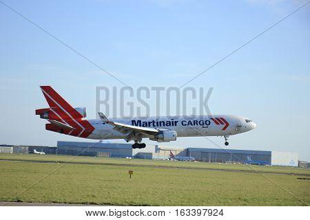 Amsterdam The Netherlands april 11 2015: PH-MCY Martinair Holland McDonnell Douglas MD-11F approaching runway 09-27 Buitenveldert