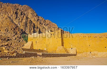 Old brick fortress in the desert of Egypt Cathedral of St. Catherine