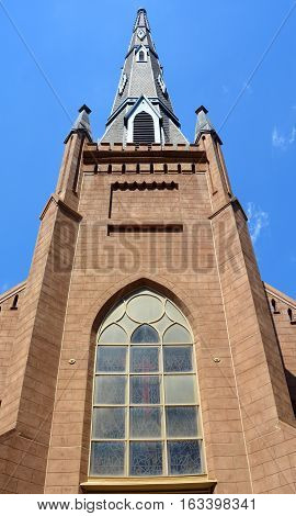 CHARLOTTE NC USA JUNE 22 2016: First Presbyterian Church is a historic Presbyterian church in Charlotte. It was built in 1857, and is a one-story, Gothic Revival style stuccoed brick building.