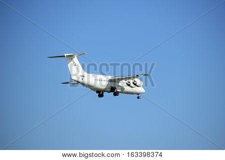 Amsterdam the Netherlands - July 15th 2016:EI-RJC Cityjet British Aerospace approaching Polderbaan runway at Schiphol Amsterdam Airport arriving from London United Kingdom