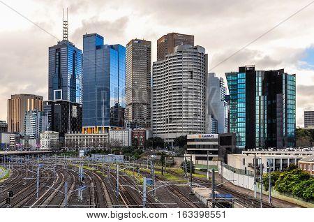 MELBOURNE, AUSTRALIA - SEPTEMBER 8, 2012: View of the skyscrapers of the CBD in Melbourne Australia