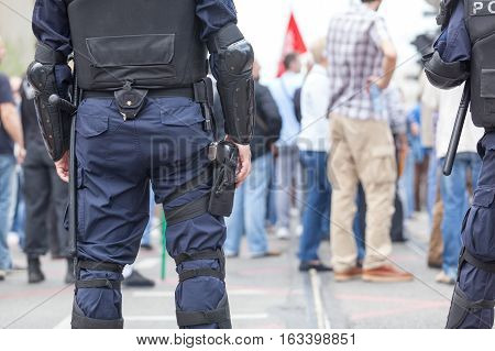 Police at public demonstration. State of emergency.