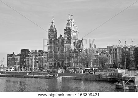 AMSTERDAM NETHERLAND 01 10 2015: The Basilica of Saint Nicholas, Basiliek van de Heilige Nicolaas is located in the Old Centre district of Amsterdam, Netherlands. It is the city major Catholic church