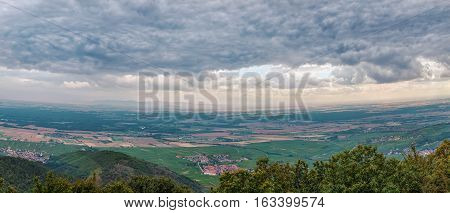 Panoramic view of neighborhood from Haut-Koenigsbourg Castle hill Alsace France