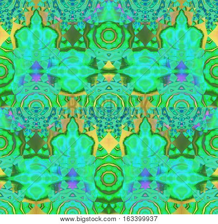 Abstract geometric seamless background. Regular concentric circle ornaments gold and yellow and in blue green shades, with elements in violet and purple, ornate and dreamy.