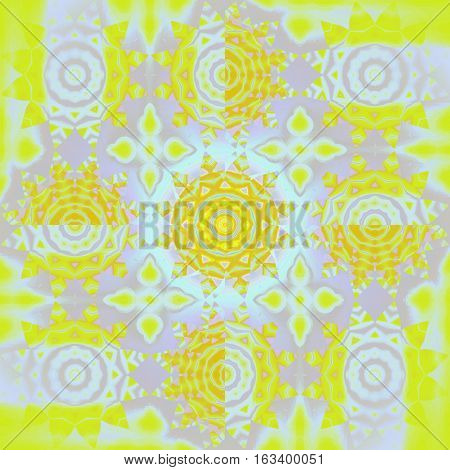 Modern geometric seamless background. Regular floral pattern. Different abstract blossoms in yellow, orange and pastel purple shades with light blue elements. Centered and blurred, ornate and dreamy.