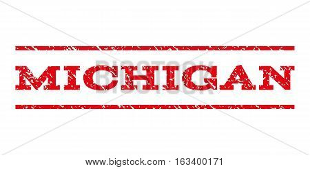 Michigan watermark stamp. Text caption between horizontal parallel lines with grunge design style. Rubber seal stamp with dust texture. Vector intensive red color ink imprint on a white background.