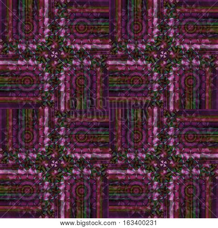Abstract geometric seamless intricate background. Regular concentric circles pattern in pink, violet and purple shades with dark green elements.