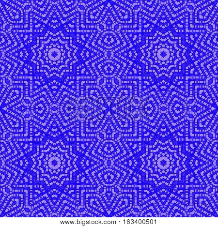 Abstract geometric seamless background. Regular star pattern dark blue and purple, ornate and extensive.