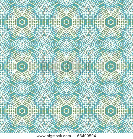 Abstract geometric seamless background. Regular hexagon pattern beige, turquoise, light blue and yellow, netting.