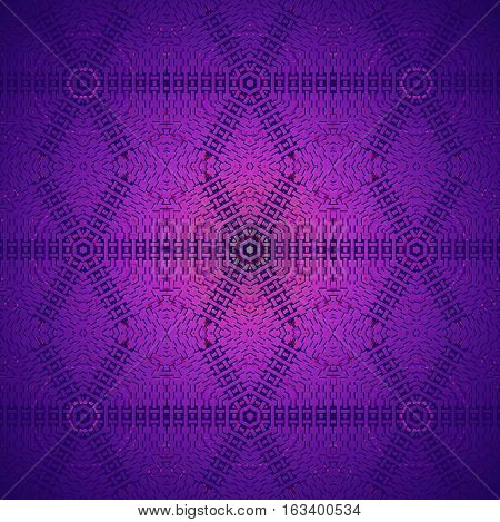 Abstract geometric seamless background. Regular hexagon and diamond pattern in magenta, violet and purple shades, centered and shiny.