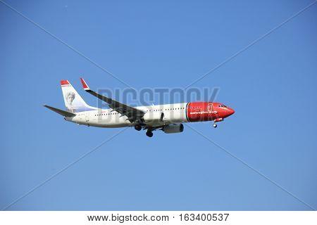 Amsterdam the Netherlands - May 6th 2016: LN-DYV Norwegian Air Shuttle Boeing 737 approaching Schiphol Polderbaan runway arriving from Copenhagen Danmark