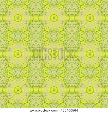 Abstract geometric seamless background in quiet colors. Regular hexagon pattern beige, yellow and lemon lime green, delicate and extensive netting.