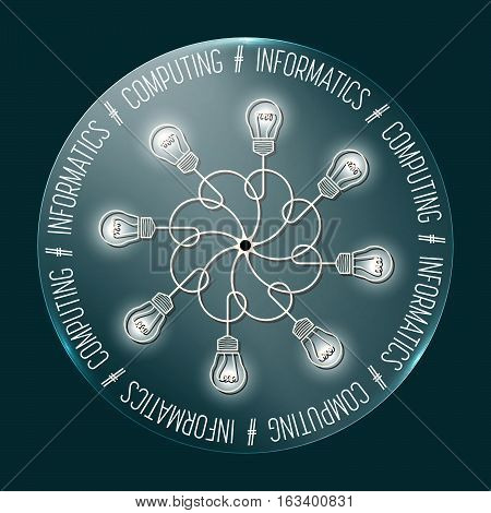 Abstract transparent circle with the words informatics; computing