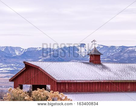 Weather Vane Atop Red Barn In Winter