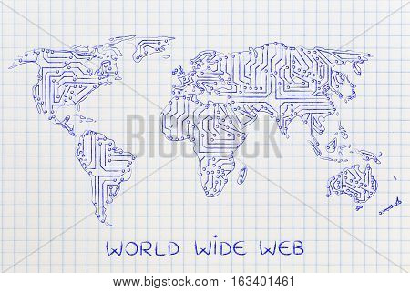 World Map Made Of Electronic Microchip Circuits