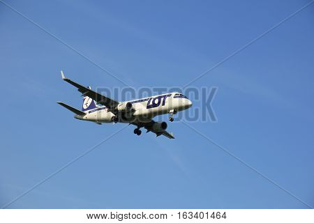 Amsterdam the Netherlands - May 6th 2016: SP-LII LOT - Polish Airlines Embraer ERJ approaching Schiphol Zwanenburg runway arriving from Warsaw Poland