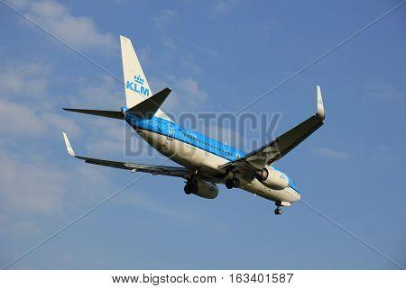 Amsterdam the Netherlands - May 6th 2016: PH-BGU KLM Royal Dutch Airlines Boeing 737 approaching Schiphol Zwanenburg runway arriving from Warsaw Poland