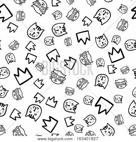 Doodles cute seamless pattern. Black vector background. Illustration with cats and crown. Design for T-shirt, textile and prints.