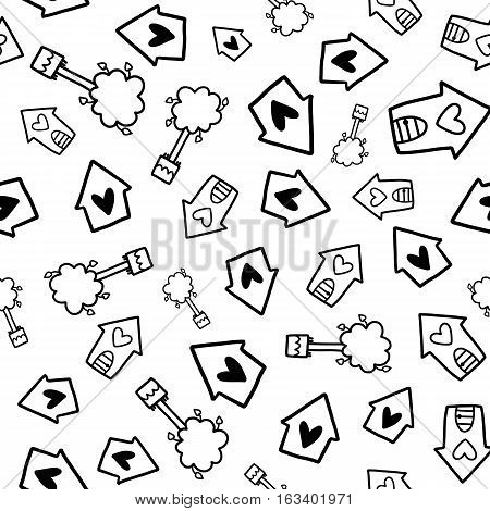 Doodles cute seamless pattern. Black vector background. Illustration with houses and trees. Design for T-shirt, textile and prints.