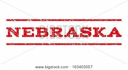 Nebraska watermark stamp. Text tag between horizontal parallel lines with grunge design style. Rubber seal stamp with dirty texture. Vector intensive red color ink imprint on a white background.